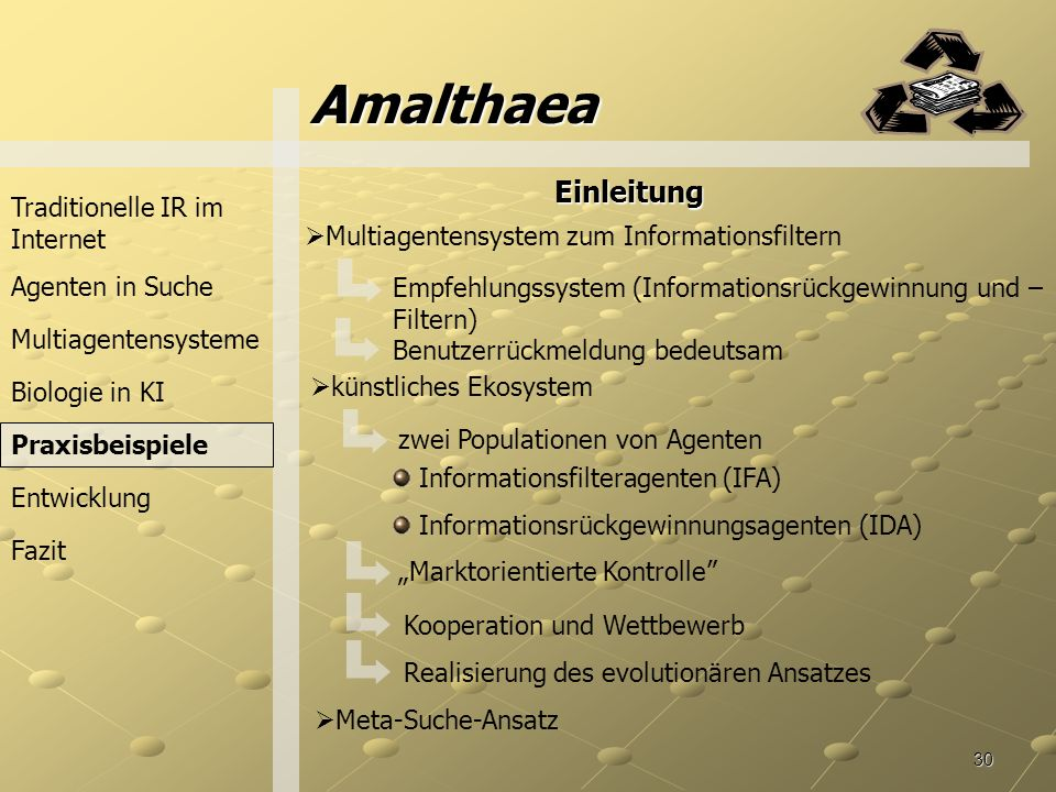 Amalthaea Einleitung Traditionelle IR im Internet