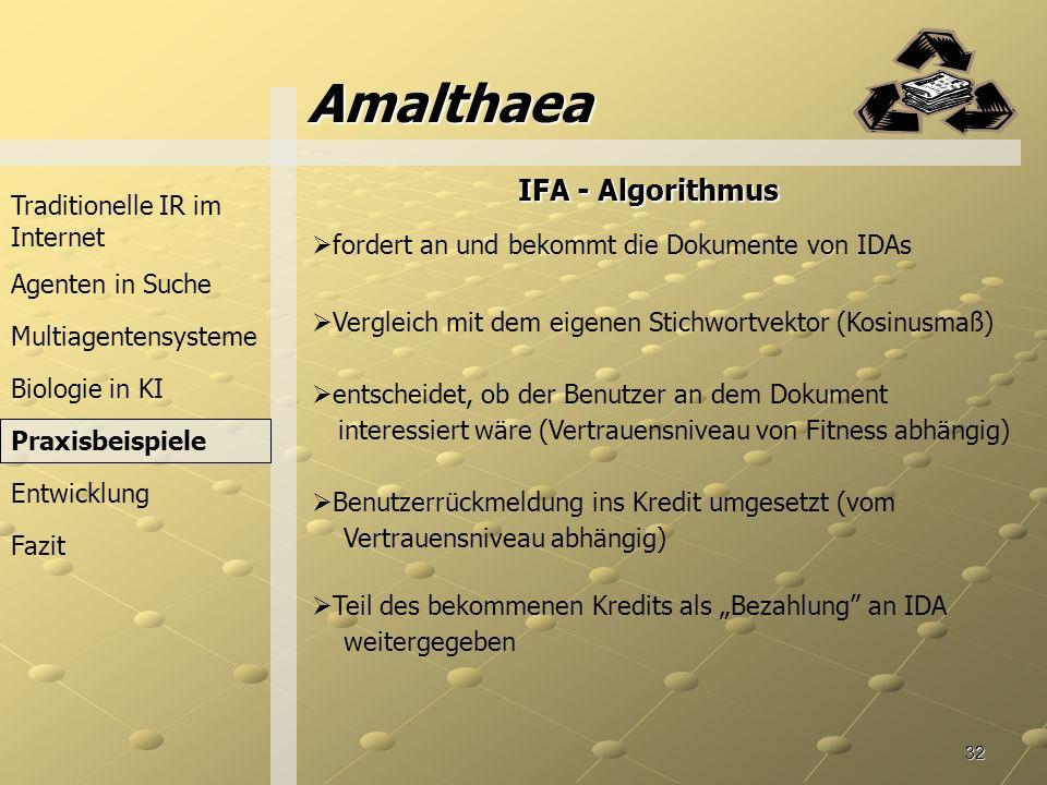 Amalthaea IFA - Algorithmus Traditionelle IR im Internet