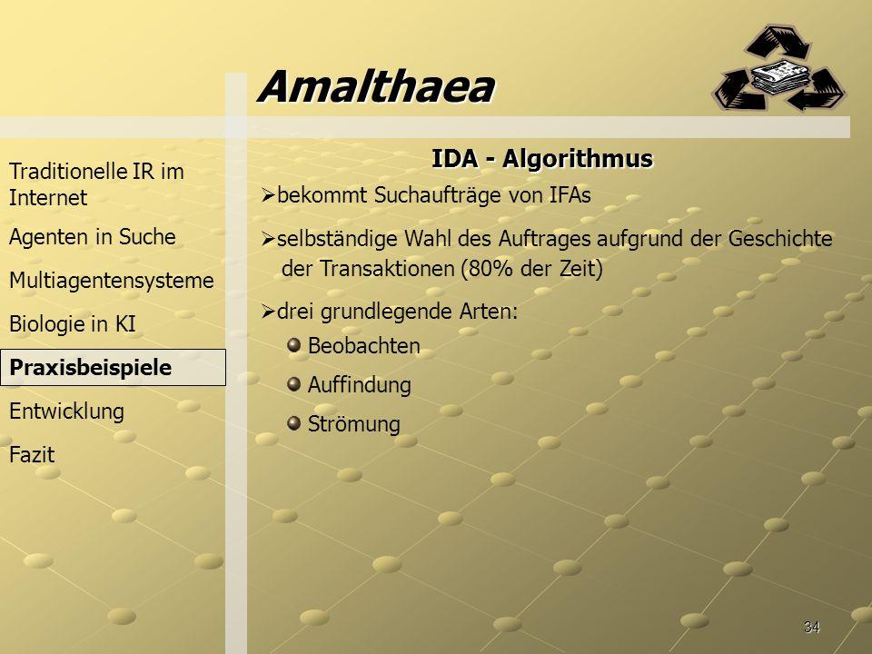 Amalthaea IDA - Algorithmus Traditionelle IR im Internet
