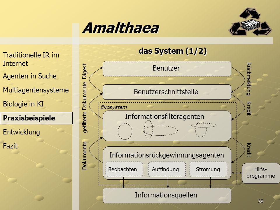 Amalthaea das System (1/2) Traditionelle IR im Internet Benutzer