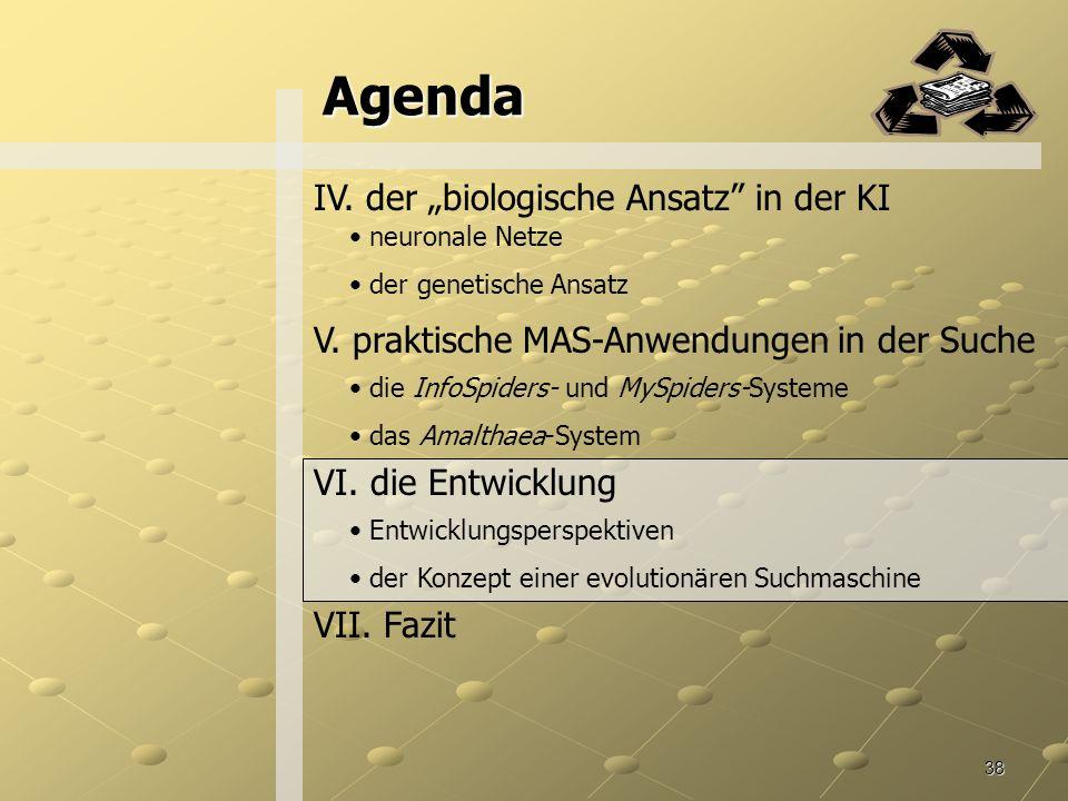 """Agenda IV. der """"biologische Ansatz in der KI"""