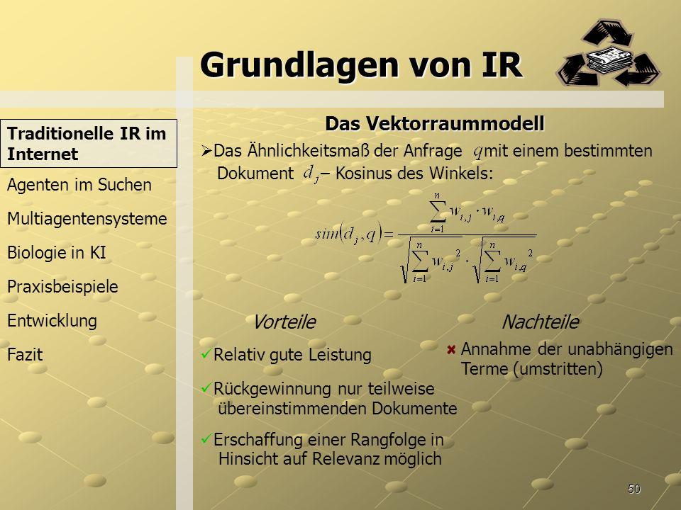 Grundlagen von IR Das Vektorraummodell Vorteile Nachteile