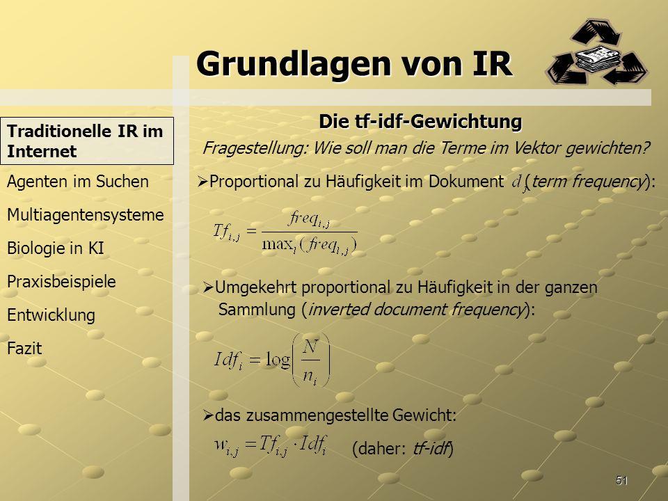 Grundlagen von IR Die tf-idf-Gewichtung Traditionelle IR im Internet