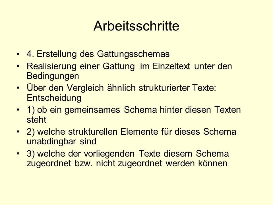 Arbeitsschritte 4. Erstellung des Gattungsschemas