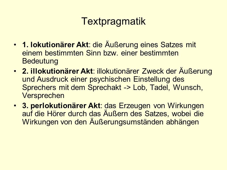 Textpragmatik 1. lokutionärer Akt: die Äußerung eines Satzes mit einem bestimmten Sinn bzw. einer bestimmten Bedeutung.