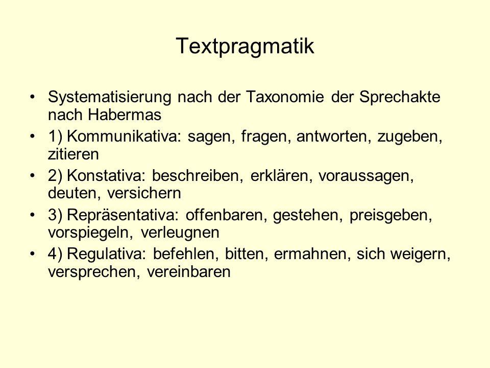 Textpragmatik Systematisierung nach der Taxonomie der Sprechakte nach Habermas. 1) Kommunikativa: sagen, fragen, antworten, zugeben, zitieren.