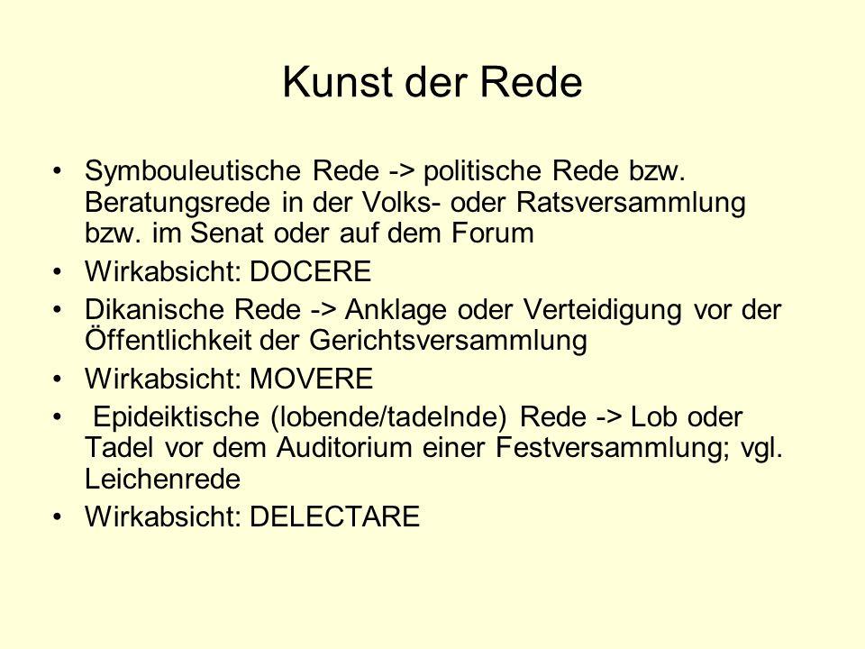Kunst der Rede Symbouleutische Rede -> politische Rede bzw. Beratungsrede in der Volks- oder Ratsversammlung bzw. im Senat oder auf dem Forum.