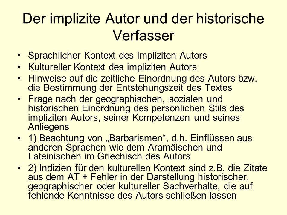 Der implizite Autor und der historische Verfasser