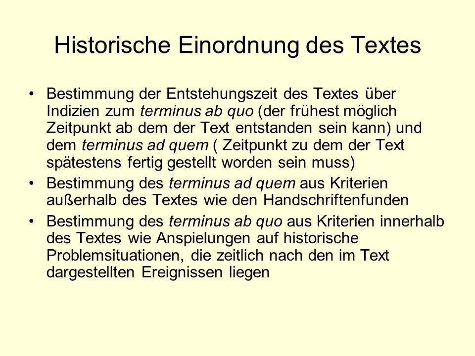 Historische Einordnung des Textes