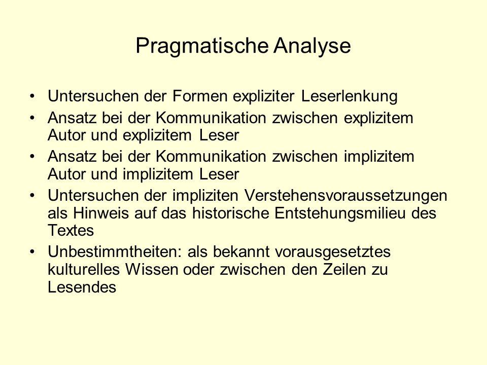 Pragmatische Analyse Untersuchen der Formen expliziter Leserlenkung