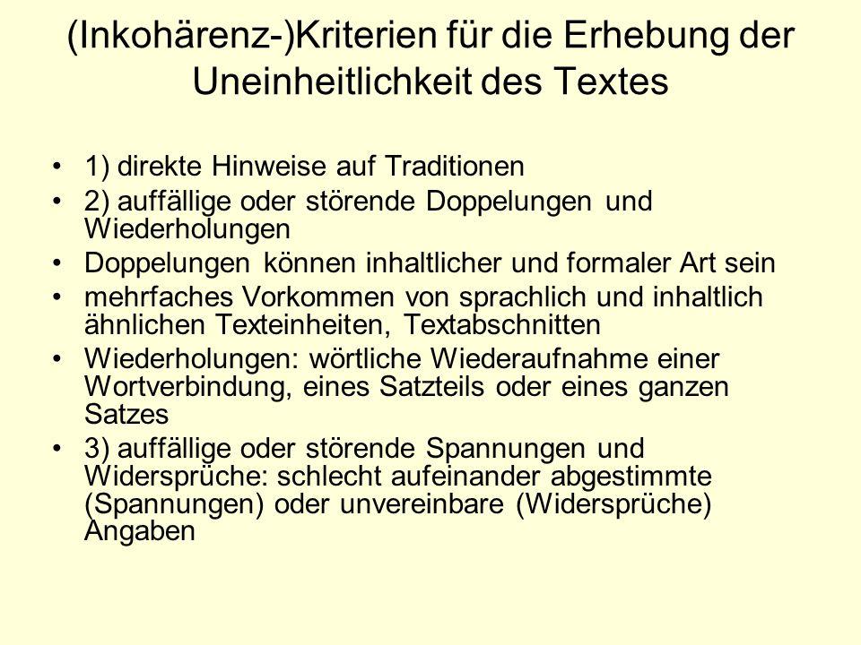 (Inkohärenz-)Kriterien für die Erhebung der Uneinheitlichkeit des Textes