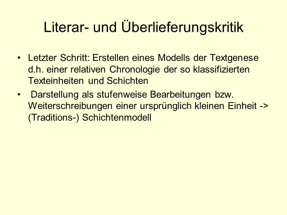 Literar- und Überlieferungskritik