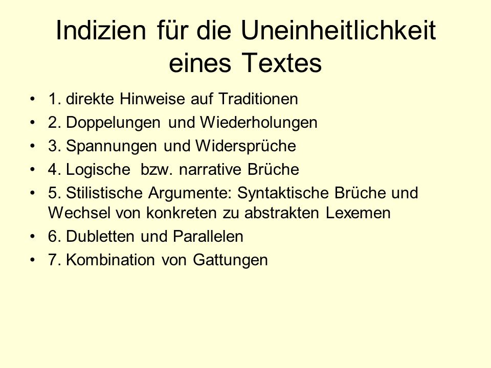 Indizien für die Uneinheitlichkeit eines Textes