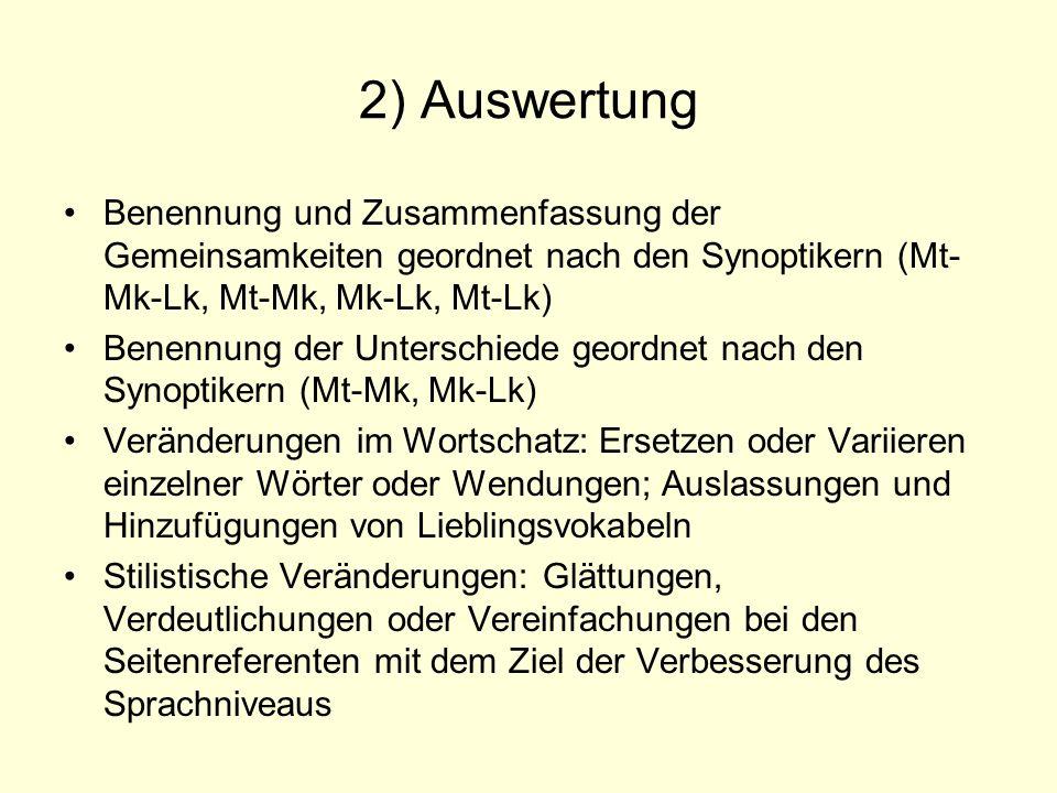 2) AuswertungBenennung und Zusammenfassung der Gemeinsamkeiten geordnet nach den Synoptikern (Mt-Mk-Lk, Mt-Mk, Mk-Lk, Mt-Lk)