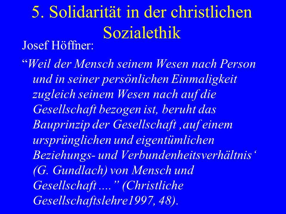5. Solidarität in der christlichen Sozialethik