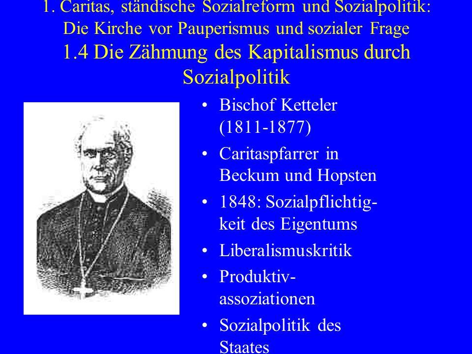 1. Caritas, ständische Sozialreform und Sozialpolitik: Die Kirche vor Pauperismus und sozialer Frage 1.4 Die Zähmung des Kapitalismus durch Sozialpolitik
