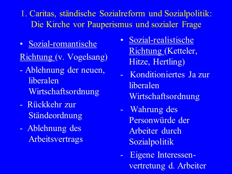 1. Caritas, ständische Sozialreform und Sozialpolitik: Die Kirche vor Pauperismus und sozialer Frage