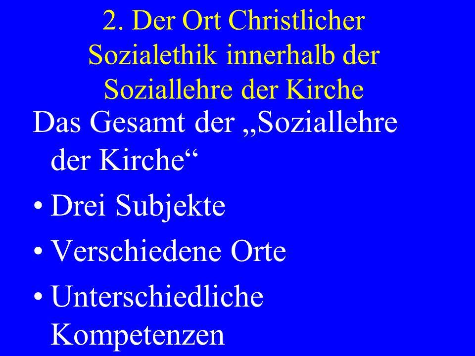 """Das Gesamt der """"Soziallehre der Kirche Drei Subjekte"""