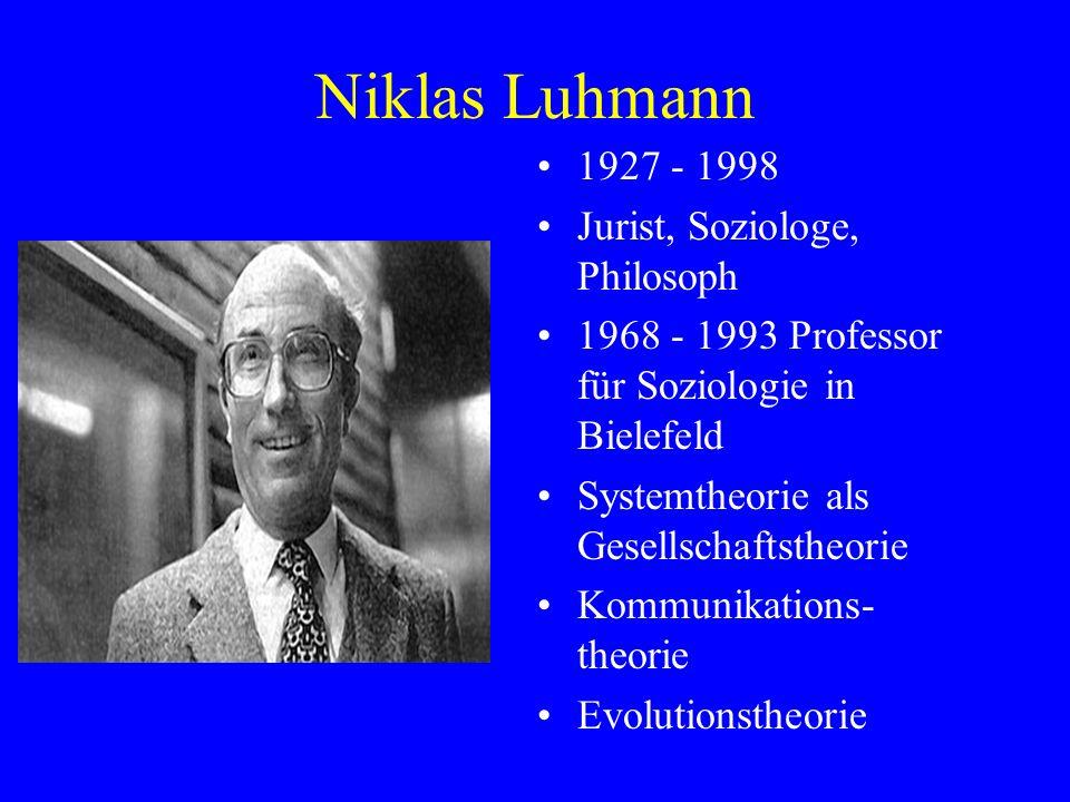 Niklas Luhmann 1927 - 1998 Jurist, Soziologe, Philosoph