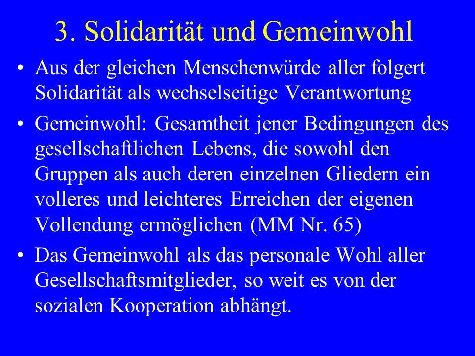 3. Solidarität und Gemeinwohl