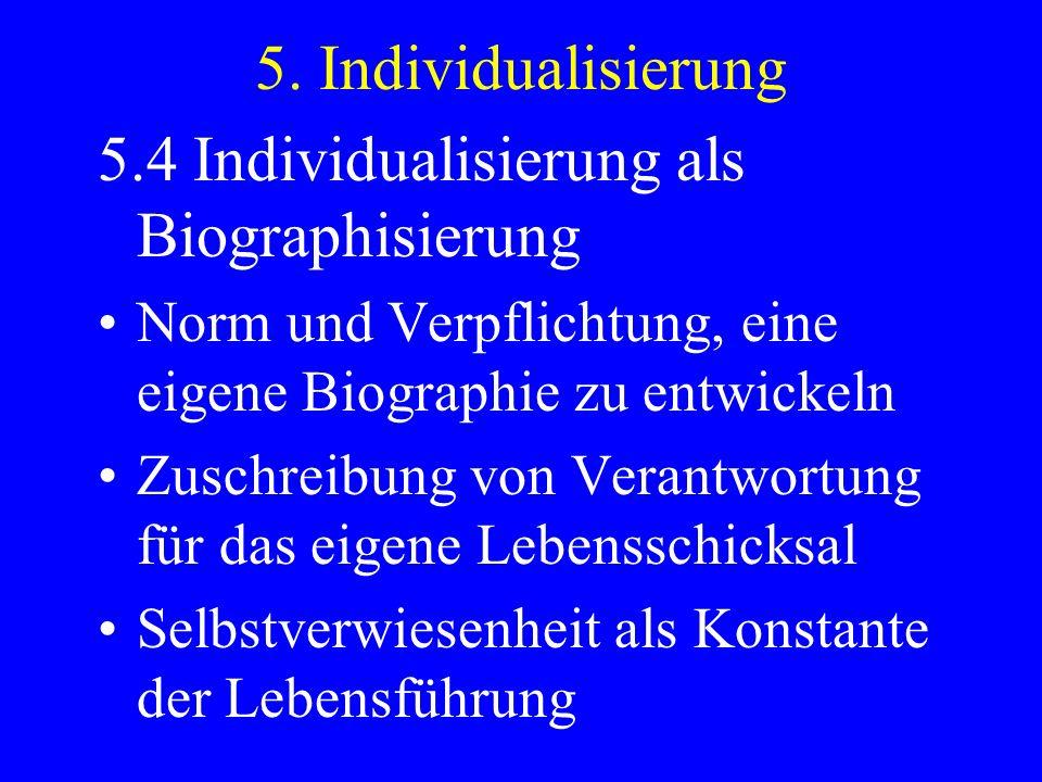 5.4 Individualisierung als Biographisierung