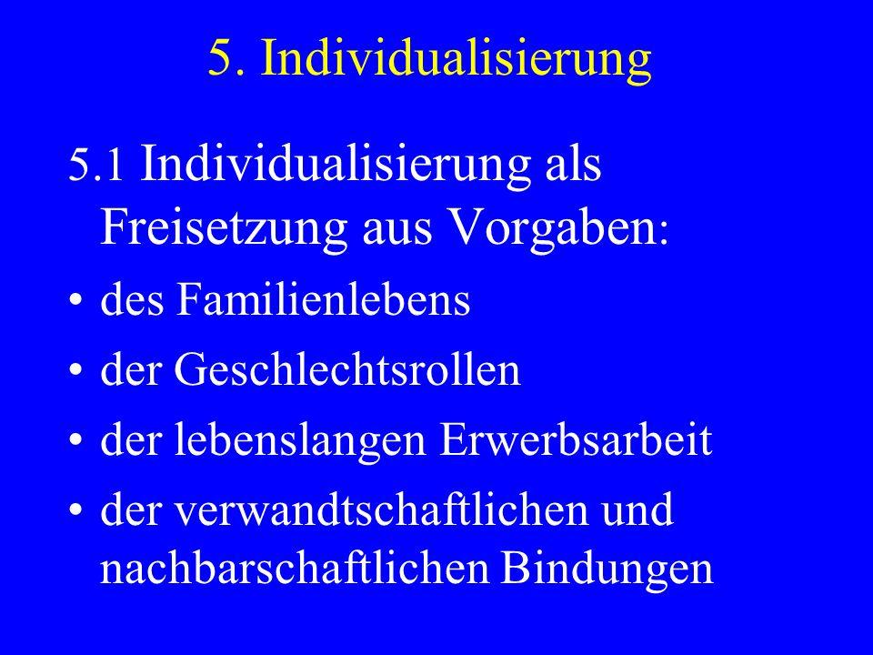 5. Individualisierung 5.1 Individualisierung als Freisetzung aus Vorgaben: des Familienlebens. der Geschlechtsrollen.
