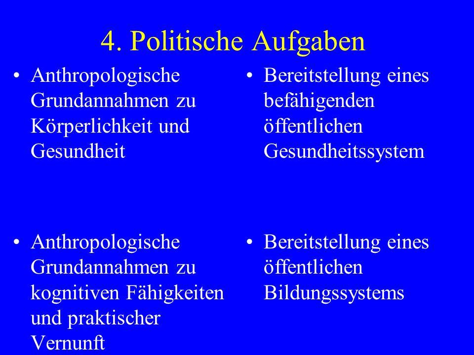 4. Politische Aufgaben Anthropologische Grundannahmen zu Körperlichkeit und Gesundheit.