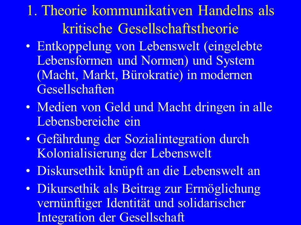 1. Theorie kommunikativen Handelns als kritische Gesellschaftstheorie