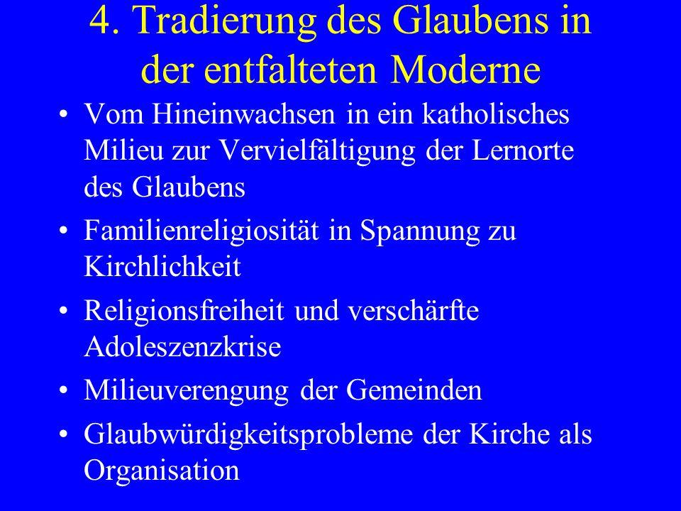 4. Tradierung des Glaubens in der entfalteten Moderne