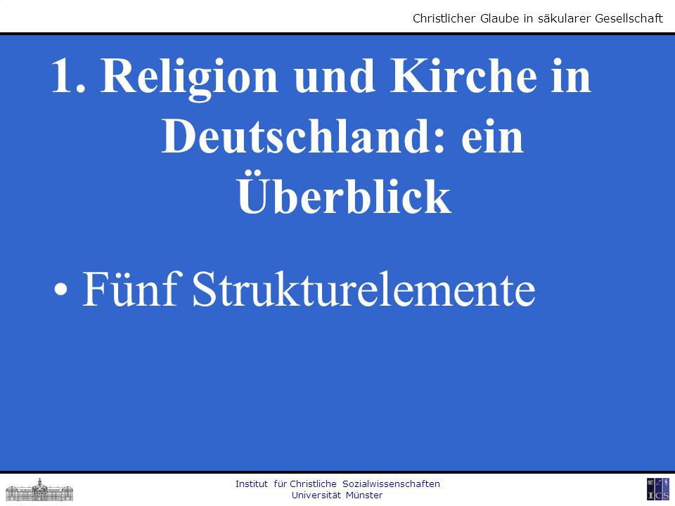 1. Religion und Kirche in Deutschland: ein Überblick