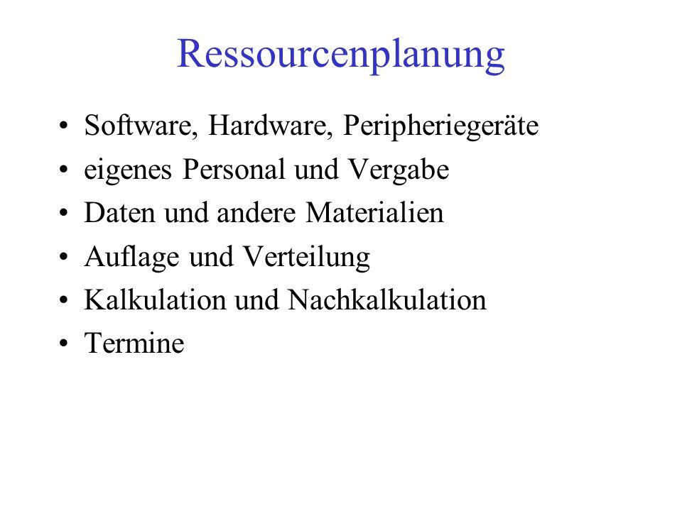 Ressourcenplanung Software, Hardware, Peripheriegeräte
