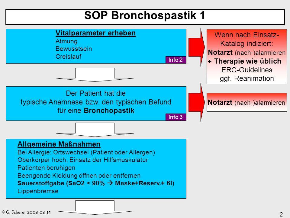 SOP Bronchospastik 1 Vitalparameter erheben. Atmung. Bewusstsein. Creislauf.