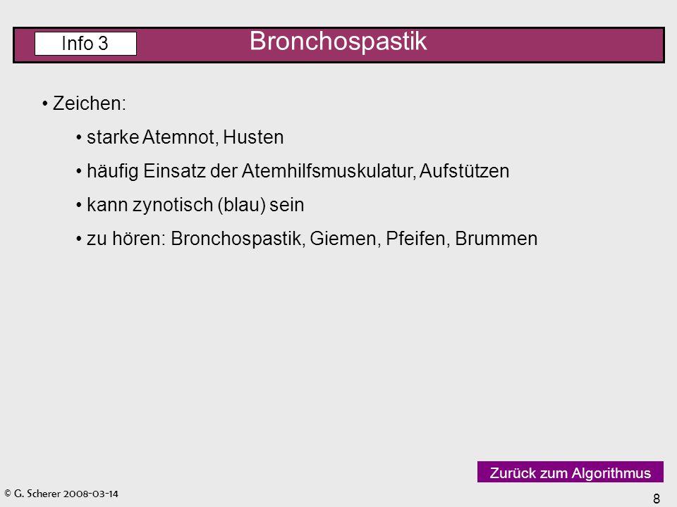 Bronchospastik Info 3 Zeichen: starke Atemnot, Husten