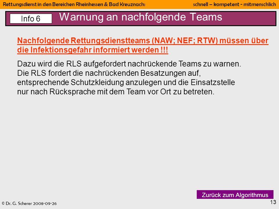 Warnung an nachfolgende Teams