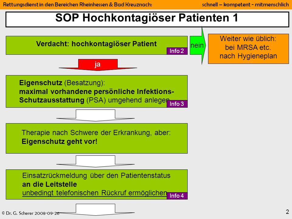 SOP Hochkontagiöser Patienten 1 Verdacht: hochkontagiöser Patient