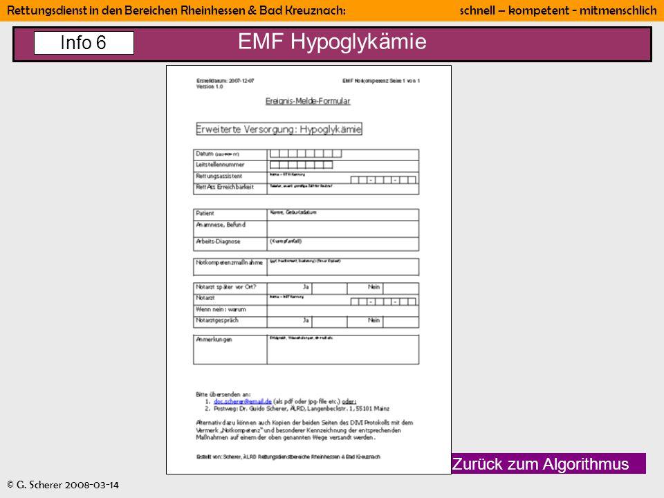 EMF Hypoglykämie Info 6 Zurück zum Algorithmus