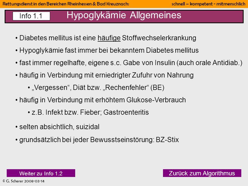 Hypoglykämie Allgemeines