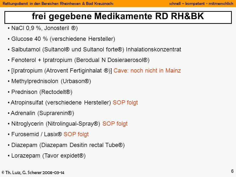 frei gegebene Medikamente RD RH&BK