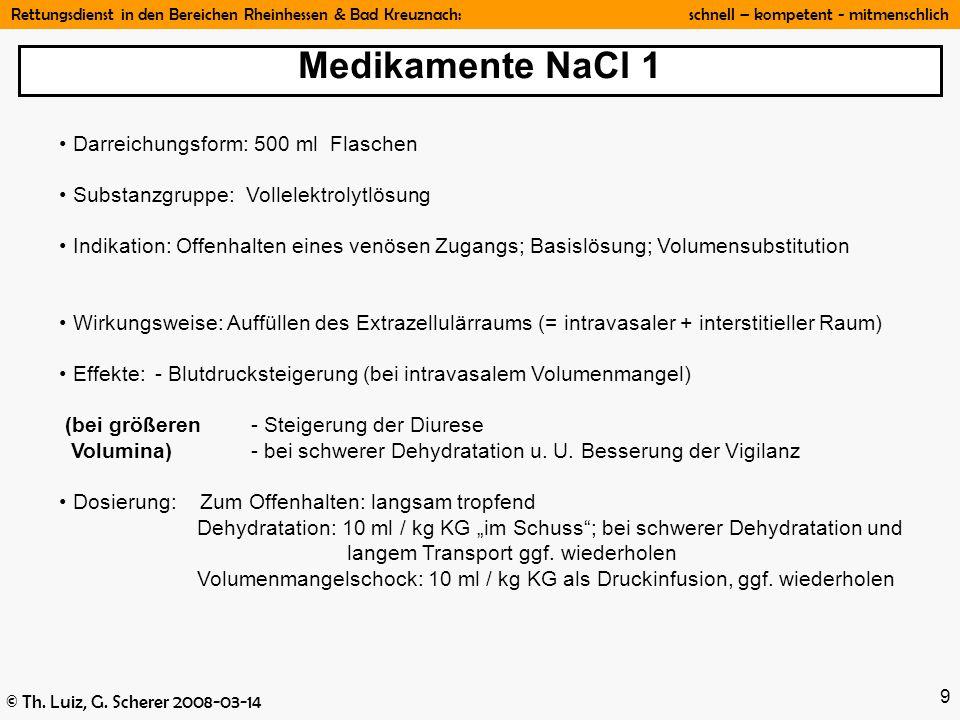 Medikamente NaCl 1 Darreichungsform: 500 ml Flaschen