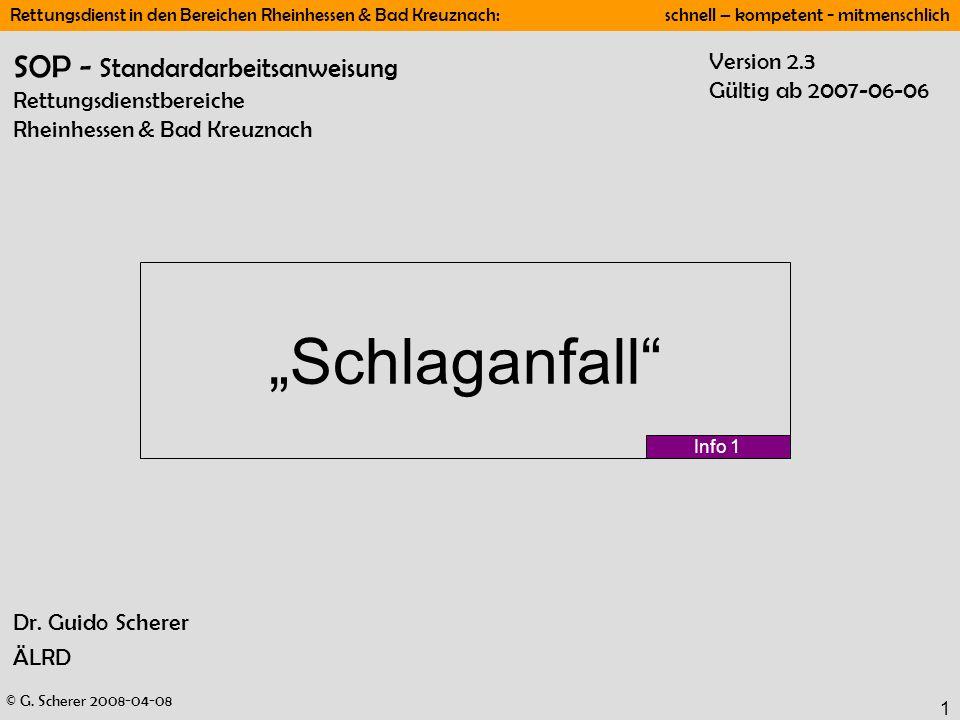 SOP - Standardarbeitsanweisung Rettungsdienstbereiche Rheinhessen & Bad Kreuznach