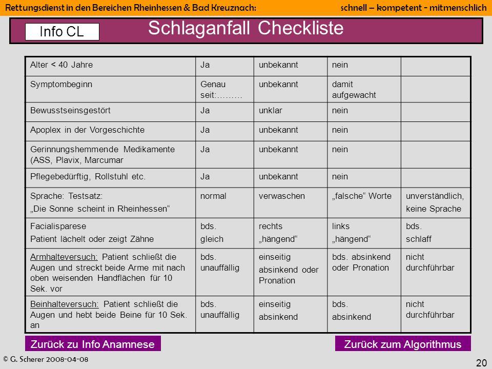 Schlaganfall Checkliste
