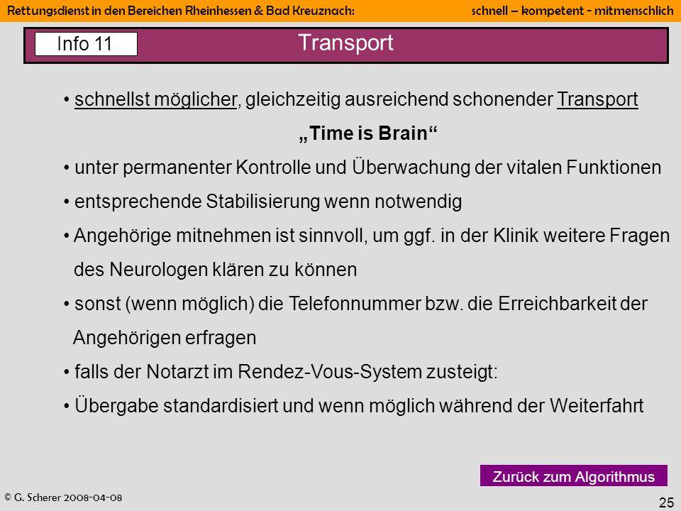"""Transport Info 11. schnellst möglicher, gleichzeitig ausreichend schonender Transport. """"Time is Brain"""