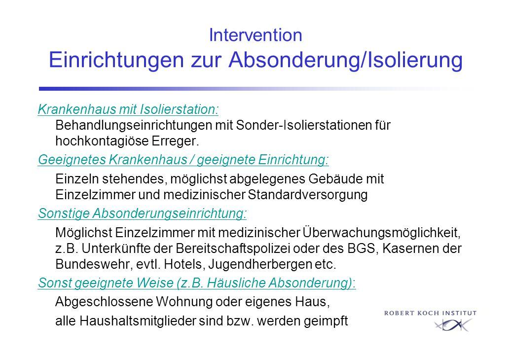 Intervention Einrichtungen zur Absonderung/Isolierung