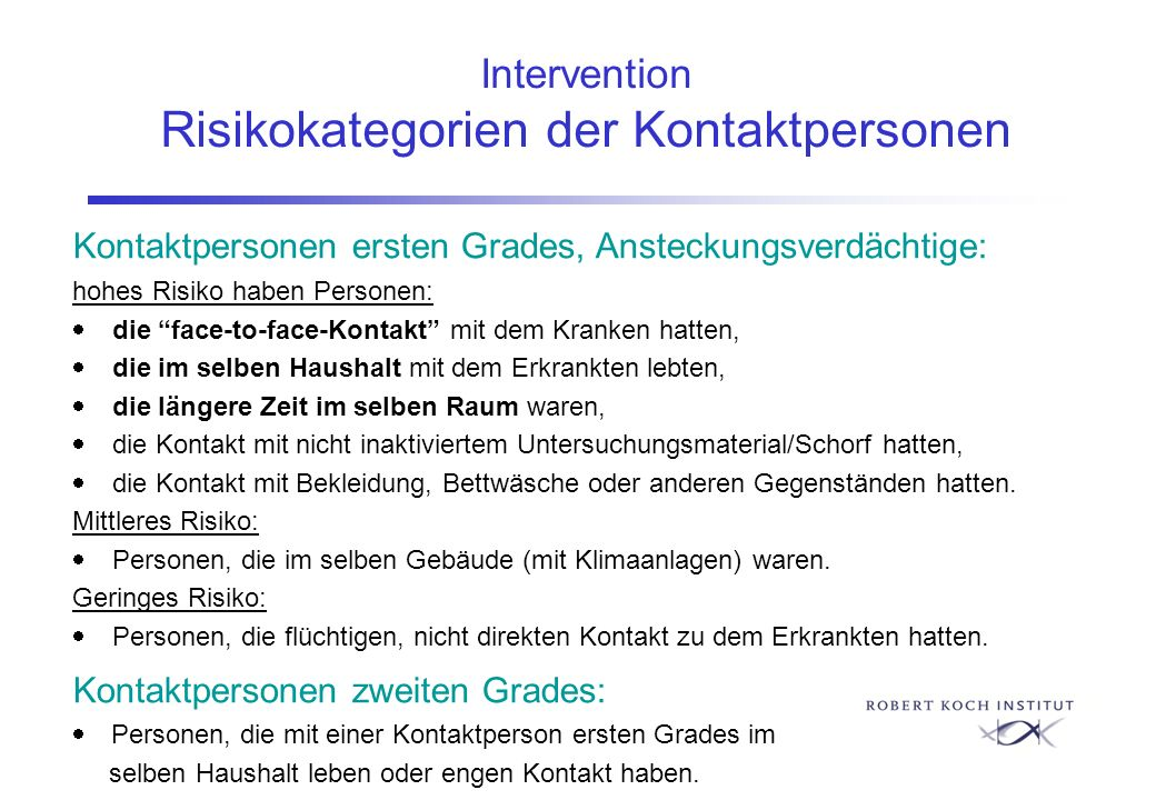 Intervention Risikokategorien der Kontaktpersonen