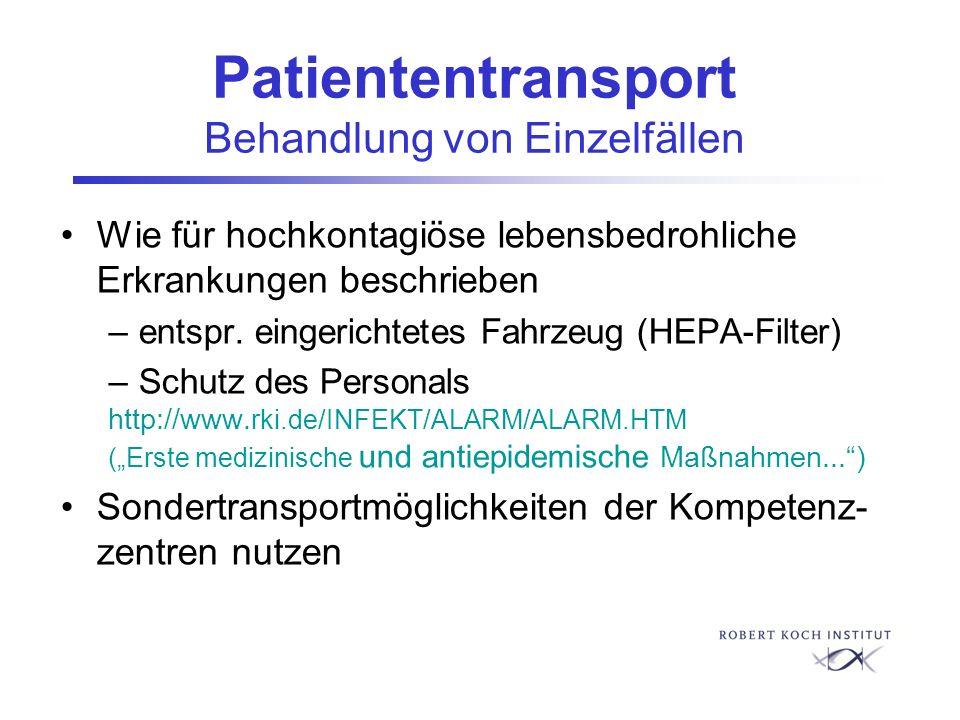 Patiententransport Behandlung von Einzelfällen