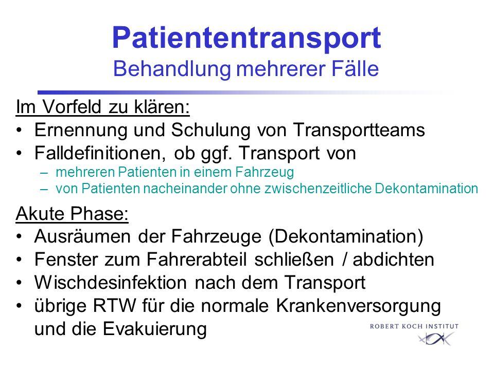 Patiententransport Behandlung mehrerer Fälle