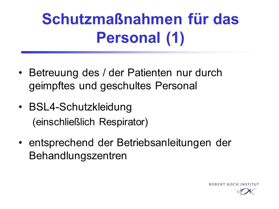Schutzmaßnahmen für das Personal (1)
