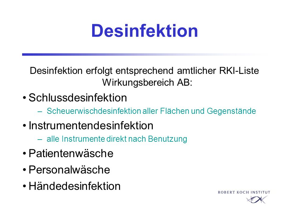 Desinfektion Schlussdesinfektion Instrumentendesinfektion