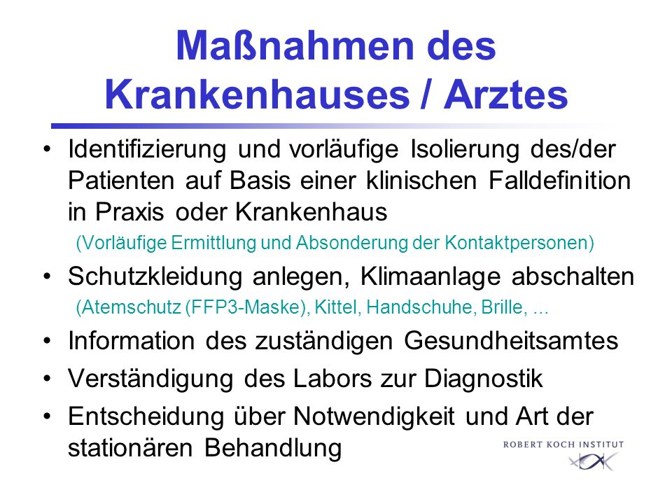 Maßnahmen des Krankenhauses / Arztes