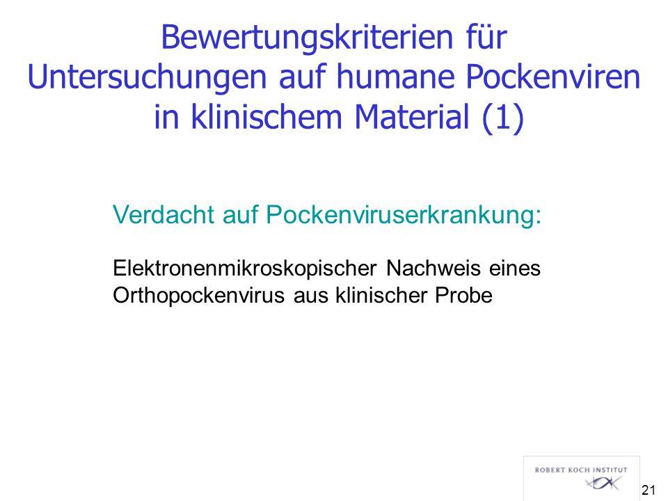 Bewertungskriterien für Untersuchungen auf humane Pockenviren in klinischem Material (1)